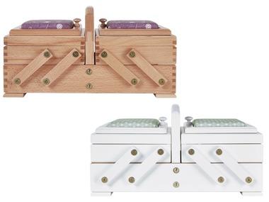 CRELANDO® Dřevěný box na šicí potřeby