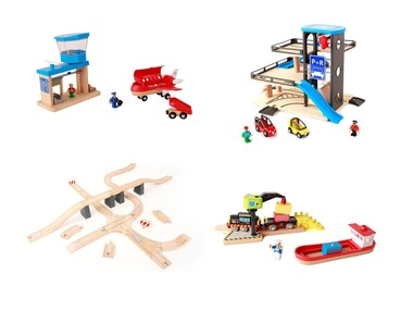 PLAYTIVE®JUNIOR Dřevěné doplňky k železnici / autodráze