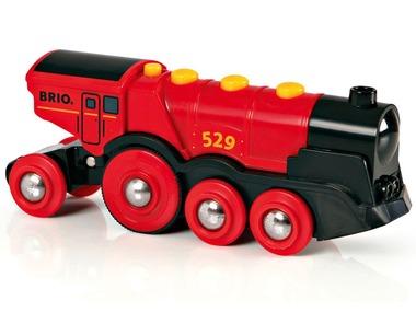 BRIO World Mohutná elektrická červená lokomotiva se světly 33592