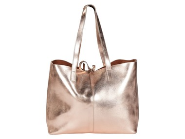 ESMARA® Dámská kožená oboustranná kabelka shopper (růžovozlatá)