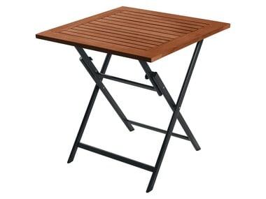 FLORABEST® Hliníkový skládací stůl s deskou z tvrdého dřeva