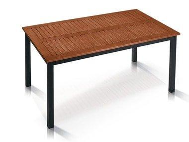 FLORABEST® Hliníkový stůl s deskou z tvrdého dřeva