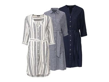 ESMARA® Dámské košilové lněné šaty