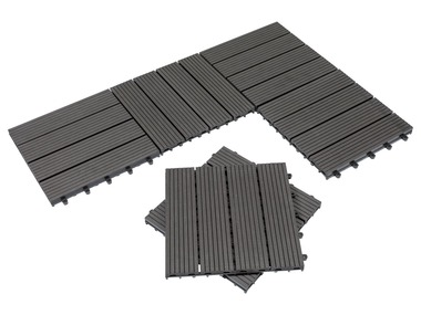 FLORABEST® Dřevěné dlaždice WPC, 6 kusů, antracitová