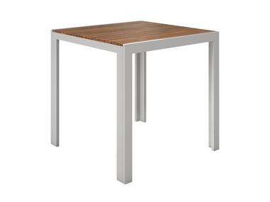 FLORABEST® Hliníkový stůl s deskou z eukalyptového dřeva
