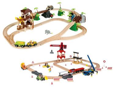 PLAYTIVE® Dřevěná železnice Staveniště / Džungle