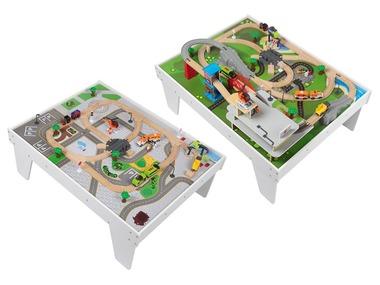 PLAYTIVE®JUNIOR Oboustranný dřevěný herní stůl s vláčkodráhou