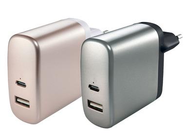 SILVERCREST® Nabíječka s konektory USB-A a USB-C